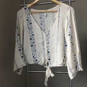 American Eagle crop top blouse Size S